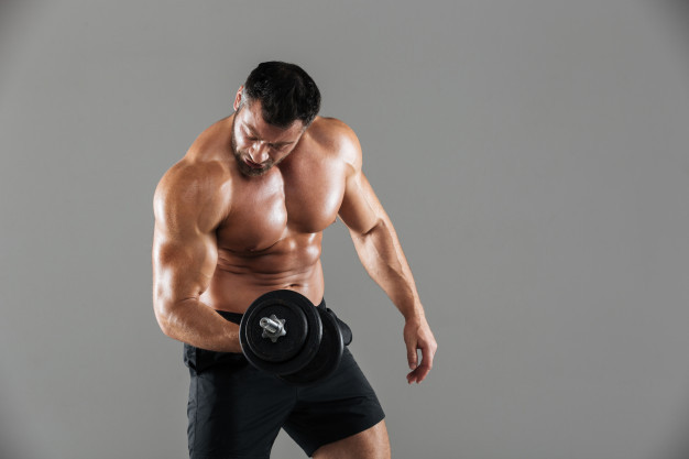 steroids for sale man flexing with weight